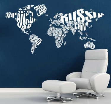 World map typographic wall decal. Vinyl wall art with texts that form the shape of the world and continents. A modern & contemporary design.