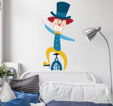 Kids Wall Stickers -Fun, colourful and playful illustration of a clown on a unicycle. Ideal for decorating bedrooms and areas for children.