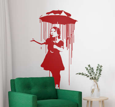 Sticker Original Banksy Fille au parapluie