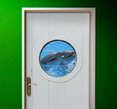 3D visual effect dolphin door decal designed with the real appearance of a dolphin in the ocean. Choose it in the best suitable size.