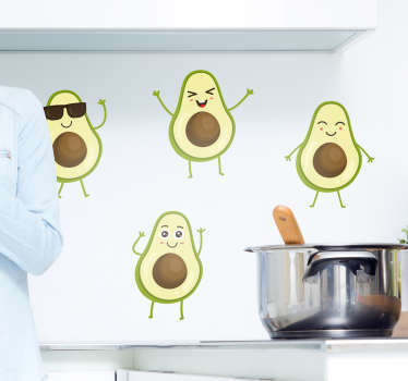 Funny avocado fruit decal design to decorate the kitchen space to create the spark of cuisine in the space. Buy it in the best size option.