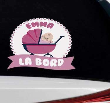 Fetiță de copil la bord auto autocolant