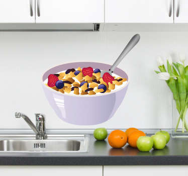 Kitchen Wall Stickers - Illustration of a bowl full of nutritious cereal with milk and fruit.