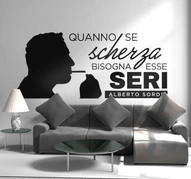 Scritta adesiva per parete Alberto Sordi frase