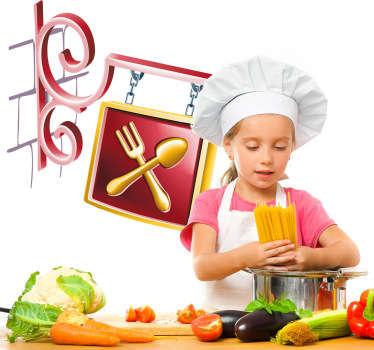 Sticker decorativo insegna ristorante