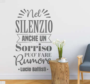 Adesivo murale Lucio Battisti frase