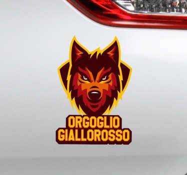 """Anche te sei un fan sfegatato della Roma? Allora scopri il nostro adesivo auto, con la frase """"Orgoglio Giallorosso"""" e l'immagine di un leone."""