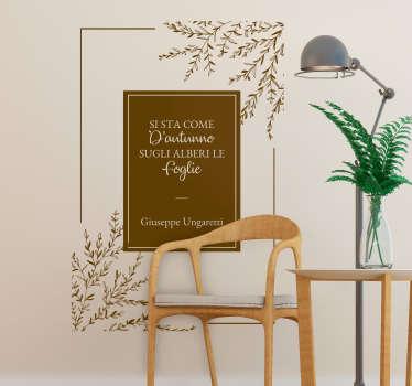 Scritta adesiva per parete Ungaretti