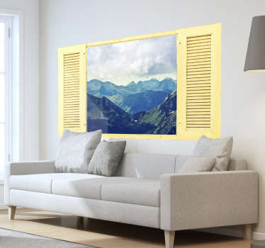 Visual effect wall decal with the design of mountain landscape with the sky.  Buy it the size that is suitable for a space.