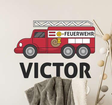 Wandtattoo Kind personalisiertes Feuerwehrauto