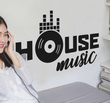 House music text Home Wall Sticker