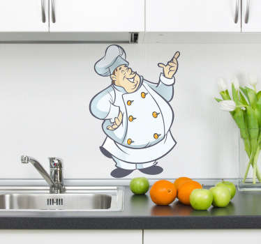 A fun and original decal of a chef who enjoys cooking which makes it perfect for some kitchen decor! Decorate your kitchen and make cooking even more fun with this excellent cartoon wall sticker! A vinyl sticker for those who love to decorate their kitchen.