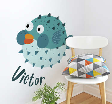 This amazing puffer fish fish wall sticker with name  is what you need for transforming completely the impact of your kid's room!