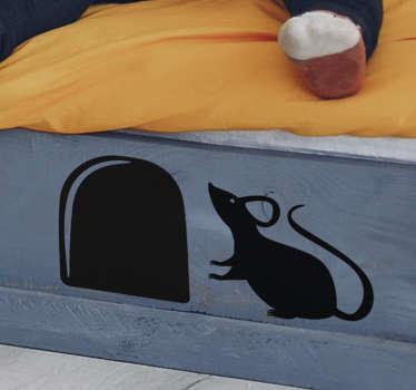 Nieszablonowe naklejki z myszą chowającą się w dziurze. Sprawdź nasze niezwykłe naklejki na ścianę do pokoju dziecka. Naklejki z myszką dla dzieci.