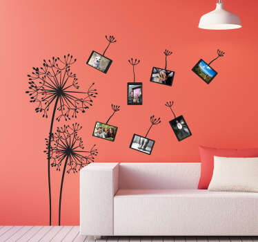 Decorative vinyl wall sticker with the design of dandelion flowers to decorate the home wall space. Choose the colour and size of choice.