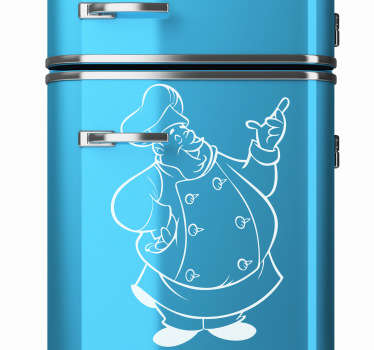 Fridge Stickers - A big friendly chef to add a touch of fun and character to your kitchen. Easy to apply and available in 50 different colours so you can personalise your home the way you want.