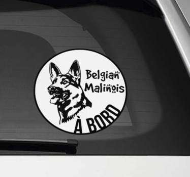 Sticker Tuning Malinois Belges à bord
