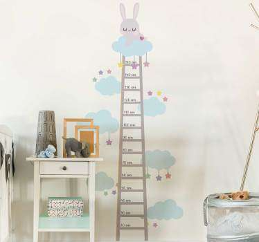 Measure the heights of your growing kids with this adorably cute bunny height measure wall sticker. Order now for worldwide delivery!