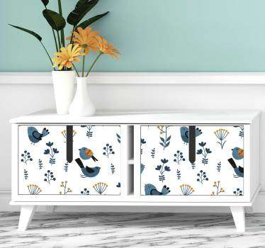 Beautiful and colorful furniture sticker with the design of leaves and birds. Choose the best matching size for the surface to decorate.