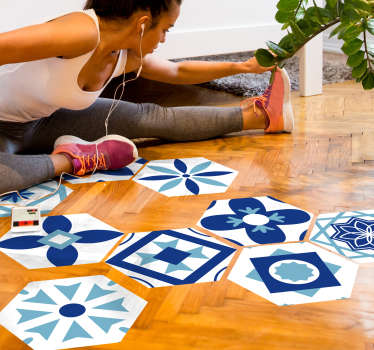 Decorative floor vinyl decal designed in an hexagonal geometric patterned. Buy it in the best suitable size. Easy to apply.
