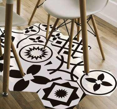Sticker Abstrait hexagones noir et blanc