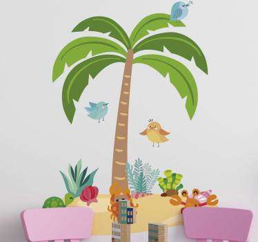 Muursticker boom palm tree and marine animals