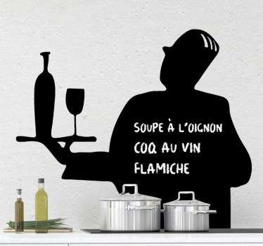Decorative writing surface kitchen wall sticker designed in silhouette of a waiter serving drinks. Available in different colour and size options.