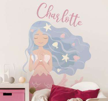 Personalisable name colorful mermaid fantasy wall art decal for the bedroom of children. Choose the size that is ideal for a desired space.