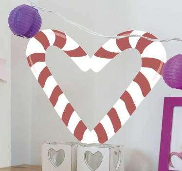 Pegatina navideña muy romántica formada por dos bastones de caramelo, colocados formando un corazón. Compra Online Segura y Garantizada.