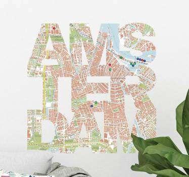 Muurstickers tienerkamer Amsterdam kaart