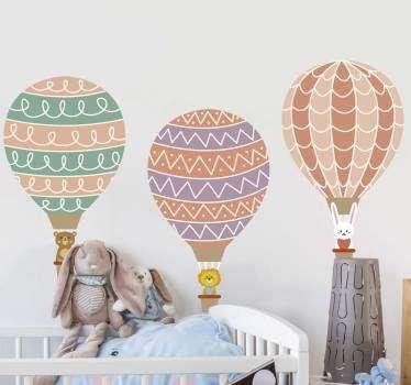 Sticker Mural Animaux dans des montgolfières