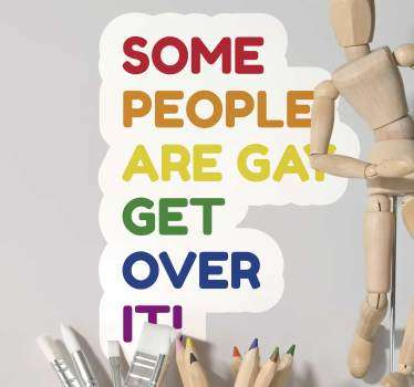 Gay Pride text wall sticker