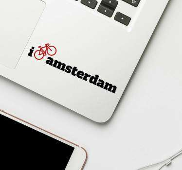 Laptop sticker I bike Amsterdam
