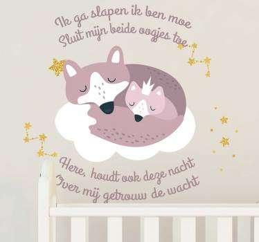 Een schattige muursticker van vosjes met een gedichtje! Bekijk hier leuk slaap gedichtje muursticker voor de kinderkamer. Voordelig personaliseren.