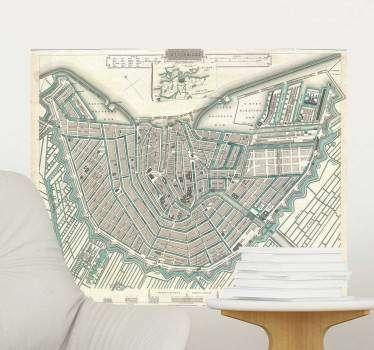 Muurstickers woonkamer oude kaart Amsterdam