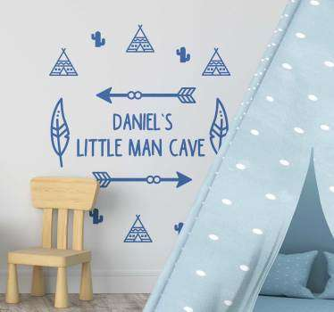 Small caves decorative wall sticker with personalisable text. Provide the text required for the design and choose a suitable size and colour.