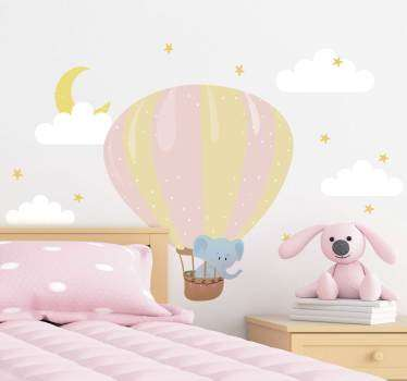 Air balloon wall sticker with an elephant  and cloud to decorate the wall space for kids and infant. Choose the best size suitable.