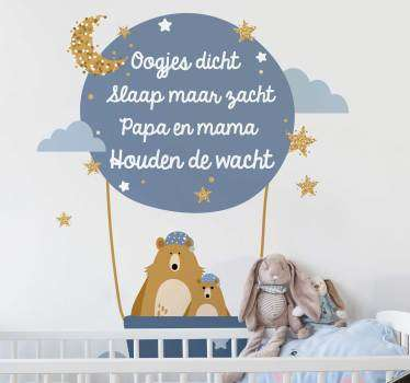 Muurstickers baby gedichtje oogjes dicht