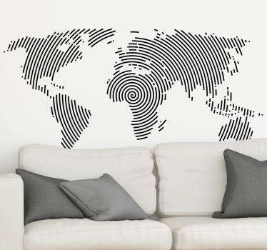If you love to travel, decorate your house with this world map wall sticker, composed by a modern design, with black circular lines