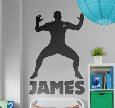 Get a customized name on our silhouette rugby sport player wall sticker. Choose it in any colour and size of preference. Easy to apply.