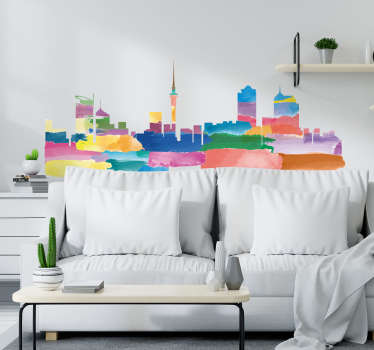 Buy our home wall declarative wall sticker with the design of the skyline of Auckland. Choose the best size needed for  space.