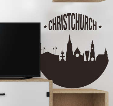 A silhouette skyline of Christchurch vinyl wall decal to decorate the home and office space. Buy it in the best option of suitable  colour for a space.