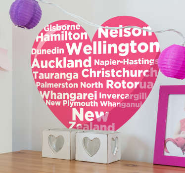 City concept heart wall sticker with love text to decorate any space with the attention of new Zealand city. choose it in the best size suitable.