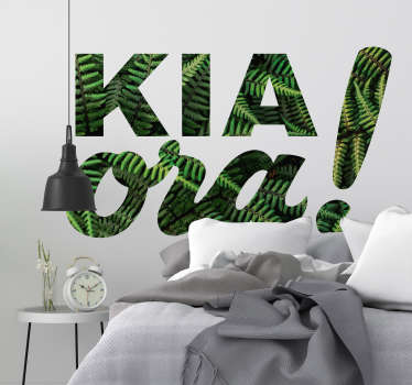 Decorative graphical fern leaf inscribed as  KIA Ora, a Maori greeting language. Buy it in the best suitable size for a desired space.