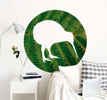 A plant fern wall art vinyl sticker in the form of a kiwi shape. Buy it in the size that is best suitable for a desired space. Easy to apply.