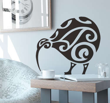 Kiwi bird tattoo wall decal to decorate the home or office space. It is available in different colours and size options to choose from. Easy to apply.