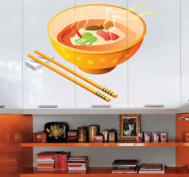 Kitchen Wall Stickers - Colourful Chinese bowl and chopsticks. Ideal for decorating the kitchen walls, cupboards or appliances