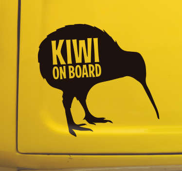 Decorative baby on board car vinyl decal with the design of a kiwi and text.. Kiwi on board]]. Buy it in the best suitable size and colour.
