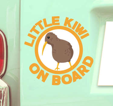 This fantastic ittle Kiwi on Board sticker is the best choice for improving the aspect of your car! It is really easy to apply!