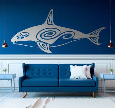 Decorative home wall sticker with the design of Maori wale fish. Buy it in the desirable size option for a surface. Easy to apply.
